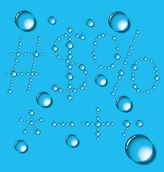 Water Drop Letters On Blue New 12 vector image