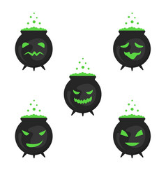 a set of boiling boilers for halloween vector image