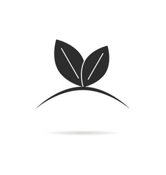 black leaf like germinating sprout logo vector image