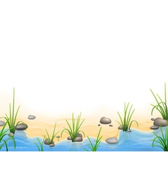 Grass and pebbles on a river bank vector image vector image