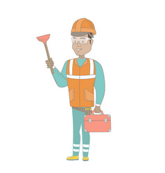 hispanic plumber holding plunger and tool box vector image vector image
