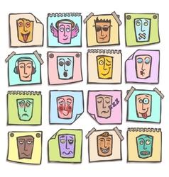 Sketch emoticons stickers set vector image vector image