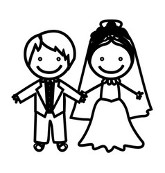sketch silhouette married couple icon vector image