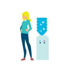 young woman near office water cooler vector image
