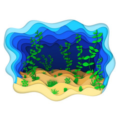 A seabed with green algae vector