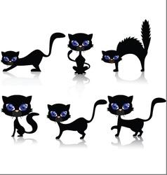 black cat cartoon collection vector image