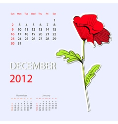 calendar for 2012 december vector image vector image