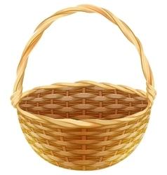 Empty wicker basket Wicker basket made of straw vector image vector image