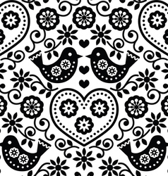 Folk art seamless monochrome pattern with flowers vector image vector image
