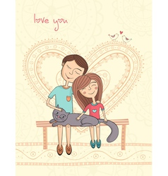 girl and boy with cat vector image vector image