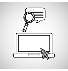 hand draw laptop search chat social network media vector image vector image
