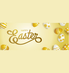 happy easter typography gold background eggs vector image vector image