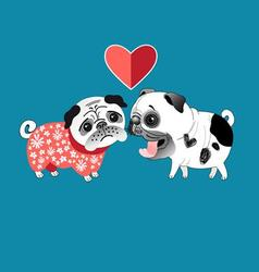 Love dogs pugs beautiful vector image vector image