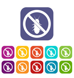 no termite sign icons set vector image vector image