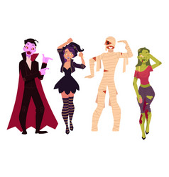 people in halloween party costumes - witch zombie vector image vector image