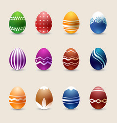 realistic color easter eggs set vector image vector image
