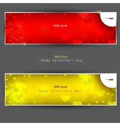 set of banners with hearts valentines day backgrou vector image vector image