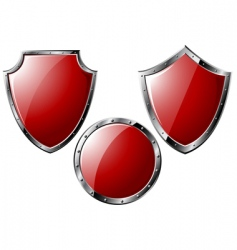 set of red steel shields vector image vector image