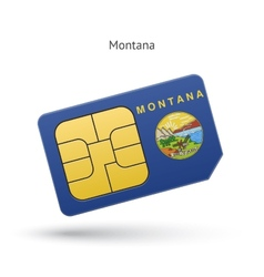 State of montana phone sim card with flag vector