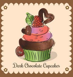 vintage card dark chocolate cupcakes vector image