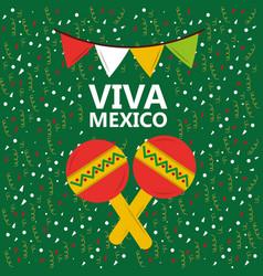 viva mexico maracas music confetti pennant green vector image vector image