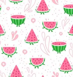 Watermelon fun seamless pattern vector image
