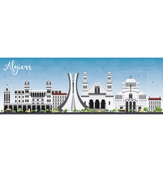 Algiers Skyline with Gray Buildings and Blue Sky vector image