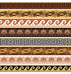 Ancient greek pattern - seamless set of antique bo vector