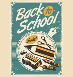 back to school promotional retro poster design vector image