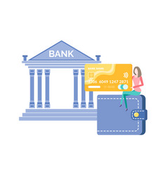 Bank institution with financial services vector