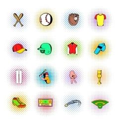 Baseball Icons set comics style vector image