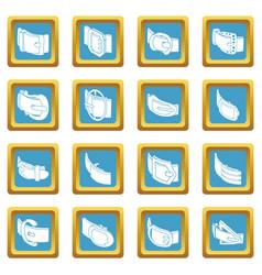 Belt buckle icons set sapphirine square vector