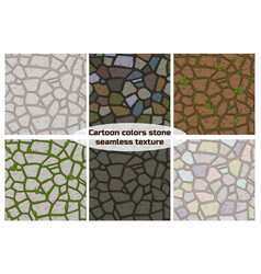 big set cartoon color stone texture vector image