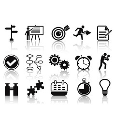 black planning icons set vector image