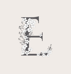 Blooming floral initial e monogram and logo vector