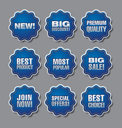 Blue adverising discount stickers vector