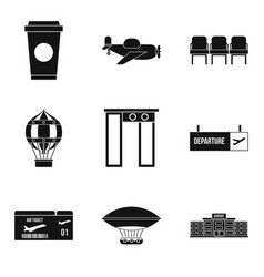 boarding pass icons set simple style vector image