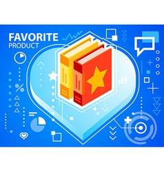 Bright heart and books on blue background fo vector