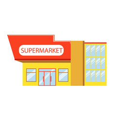 building of supermarket in red yellow colors vector image