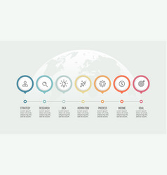 business process timeline with 7 options vector image vector image