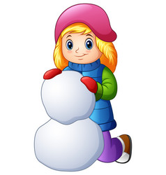 cartoon girl in winter clothes making snowball vector image