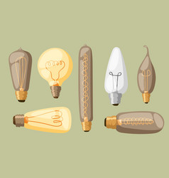cartoon lamps light bulb electricity design flat vector image