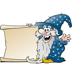 Cartoon of a happy old wizard magic man holding vector