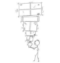 cartoon of man or businessman carrying big pile vector image