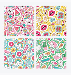 Cartoon seamless pattern girlish vector