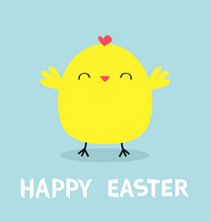chicken bird happy easter cute cartoon kawaii vector image