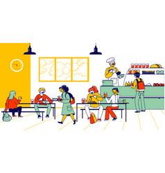 Children eat in school cafe cafeteria interior vector