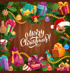 christmas tree wreath with gift on wood background vector image