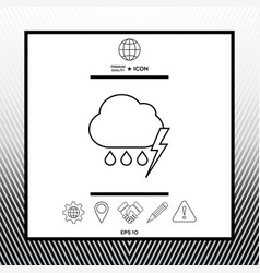 Cloud thunderstorm lightning rain line icon vector