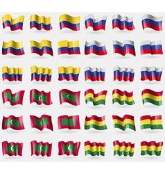 Colombia Russia Maldives Bolivia Set of 36 flags vector